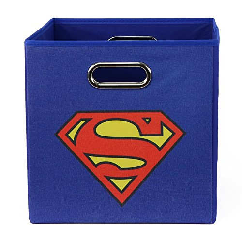 (Superman - Folding Storage Bin for Toys - Bedroom Organizer - Fold-able Storage Bin with Large Capacity. Adult and Kids Room Décor, Solid Blue for All Ages!)