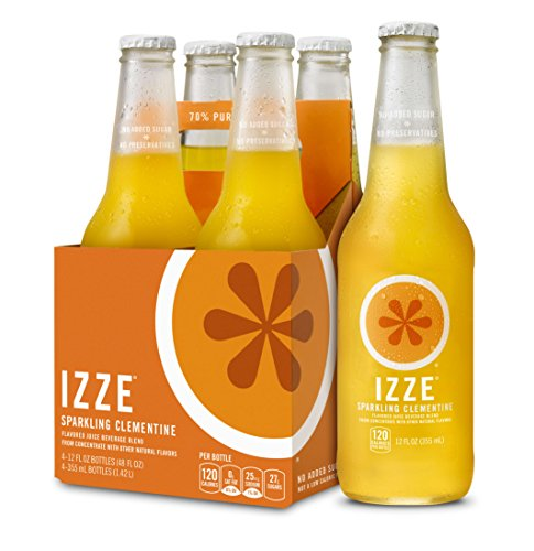 IZZE Sparkling Juice, Clementine, 12 oz Glass Bottles, 4 Count ()