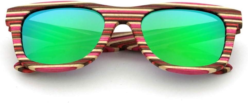 ERSD Gafas de Sol polarizadas de Madera de bambú, Gafas de Sol clásicas de Exterior para Mujeres Hombres Gafas de Sol de Gama Alta Vintage para Viajes al Aire Libre (Color : Verde)