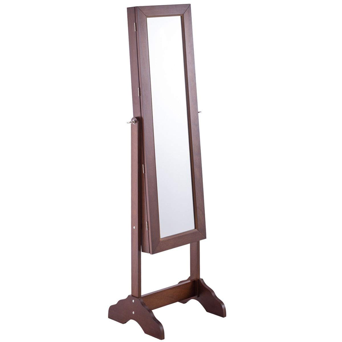 WATERJOY Jewelry Cabinet Armoire with Mirror Lockable Jewelry Holder Organizer Storage Freestanding