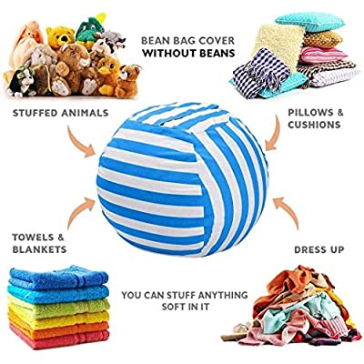 dozenla Stuffed Animal Storage Bean Bag - Large Beanbag Chairs for Kids - Plush Toys Holder and Organizer for Boys and Girls - Available in a Variety of Sizes and Colors (S-15.7inch(Diameter), Blue): Home & Kitchen