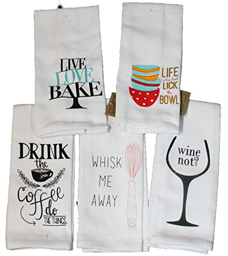 Twisted Anchor Trading Co Set of 5 Funny Kitchen Towels - Cotton Textured Baking and Cooking Related Kitchen Towels Gift Set - Comes in Organza Gift Bag by Twisted Anchor Trading Co
