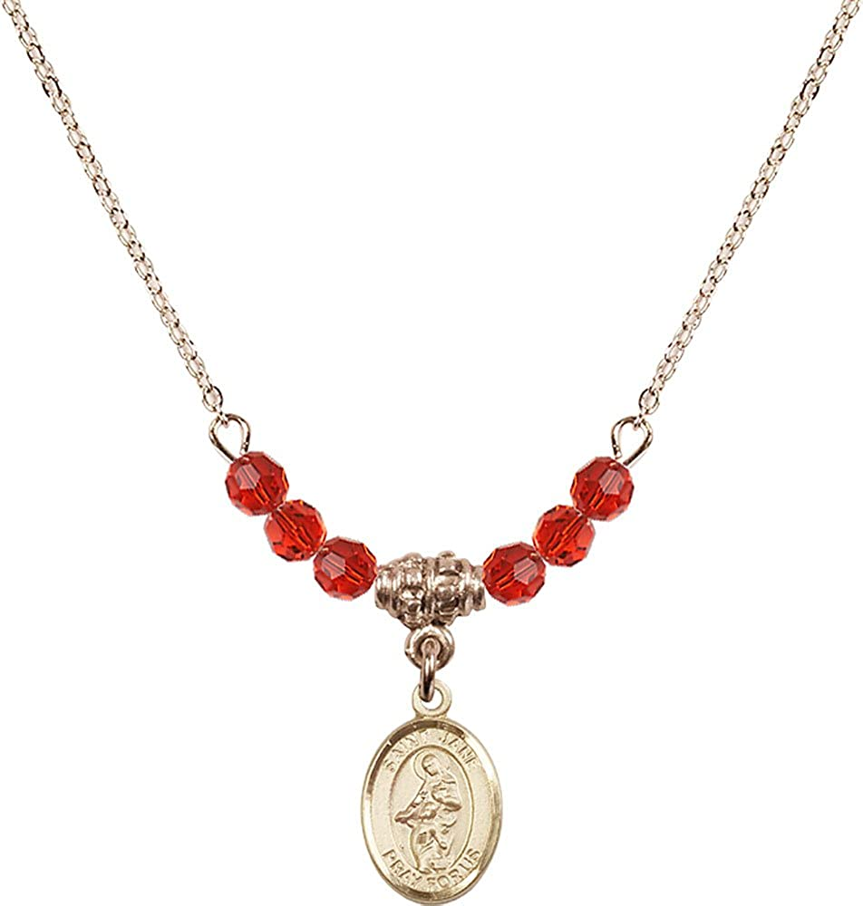 18-Inch Hamilton Gold Plated Necklace with 4mm Ruby Birthstone Beads and Gold Filled Saint Jane of Valois Charm.
