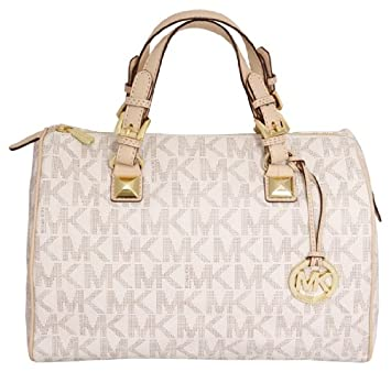 "4464b10afaa22d NEW MICHAEL KORS MONOGRAM VANILLA LARGE GRAYSON SATCHEL BAG (14""(L) x"