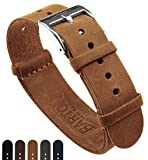 BARTON Leather NATO Style Watch Straps - Choose Color, Length & Width - Gingerbread Brown 22mm Standard Band