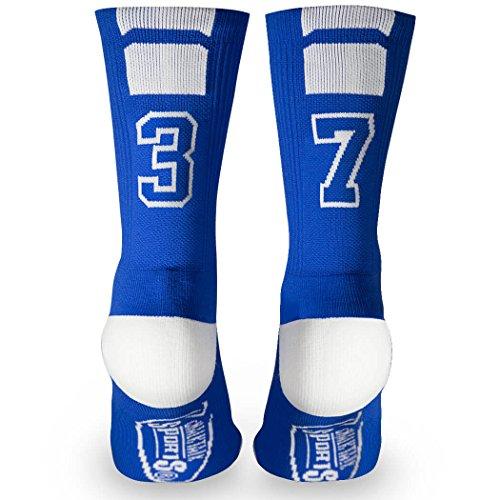 Custom Team Number Crew Socks | Athletic Socks by ChalkTalkSPORTS | Blue | 37