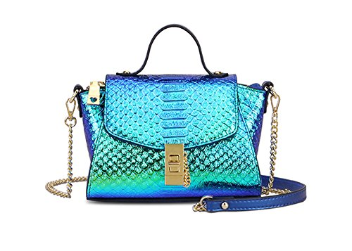 Womens Tote Handbags Holographic Snakeskin Crossbody Purse Genuine Leather Bag (Small)