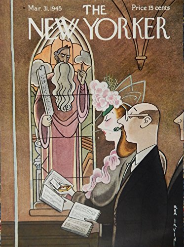 Vintage Songbook Cover - Rea Irvin, Color Illustration, [cover art] (husband and wife in church...woman holding mirror inside songbook looking at herself) Authentic oringial vintage, 1945 The New Yorker Magazine Cover Art