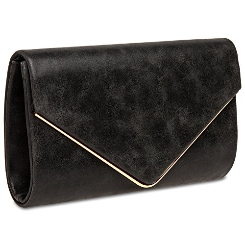 CASPAR TA349 Damen elegante Envelope Clutch Tasche / Abendtasche mit langer Kette Schwarz