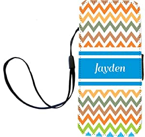 """Rikki Knight Flip Wallet Case for iPhone 5/5s - Non-Retail Packaging - """"Jayden"""" Blue Chevron"""