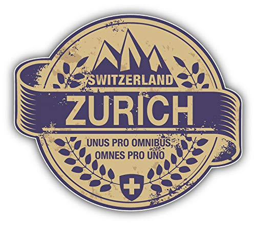 JJH Inc Zurich City Switzerland Grunge Travel Stamp Vinyl Decal Sticker Waterproof Car Decal Bumper Sticker 5""
