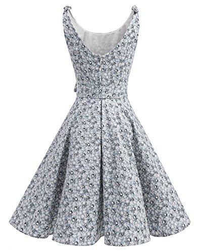 Lazo Cóctel Retro Little Bbonlinedress Vintage con Flowers de Rockabilly Vestidos 1950 Estampado vzxzXqY