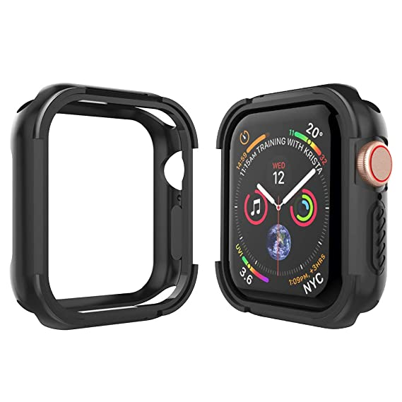 online store fce1c 2866a Alritz Compatible Apple Watch Case Series 4 44mm, Shock Resistant Bumper  Cover Rugged Protective Case Apple Watch Series 4 (Black)