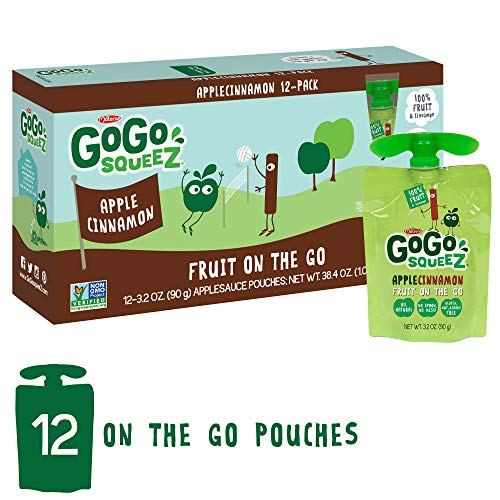 GoGo squeeZ Applesauce on the Go, Apple Cinnamon, 3.2 Ounce (12 Pouches), Gluten Free, Vegan Friendly, Healthy Snacks, Unsweetened Applesauce, Recloseable, BPA Free Pouches ()