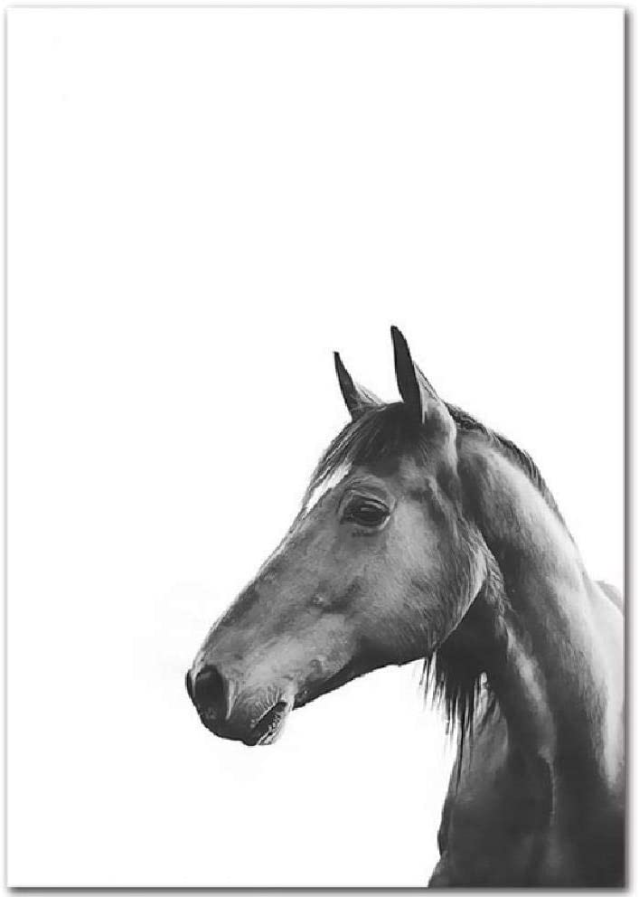 SCLPOSTER Moda Blanco y Negro Hojas inglés Flor Caballo decoración Pintura Arte Modular Lienzo póster Cuadros de Pared para Sala de Estar M