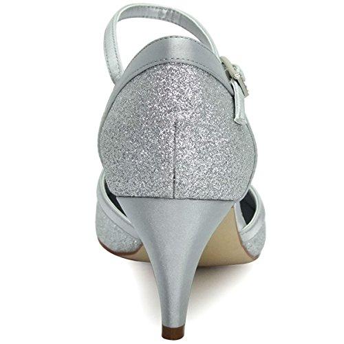 ElegantPark HC1510 Zapatos de Tacón Zapato con cierre Glitter Cerrado Women zapatos del partido plata