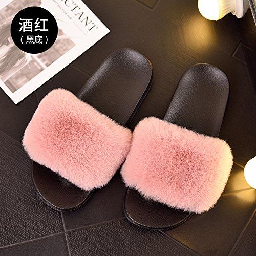 pantofole fankou moda indossare 38 femmina quattro Durante primavera la base C pantofole antiscivolo vino fresco autunno con piana un estate stagioni 37 e rosso rZr6qTxwC