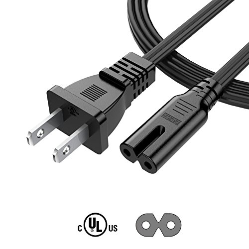 Ac Wall Cord (Garyway 6Ft 2 Slot 18AWG AC Wall Power Cord Cable for PS4 PS3 Slim, Xbox One S/Xbox One X [UL Listed])