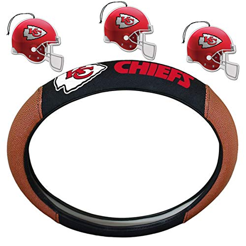 NFL Fan Shop Auto Bundle. Premium Pigskin Leather Accented Steering Wheel Cover with Embroidered Team Name and Logo Along with a 3-Pack of Team Helmet Air Fresheners (Kansas City Chiefs)