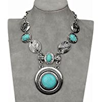 Nongkhai shop Thboxs Stunning Turquoise Cameo Chain Collar Statement Bib Necklace Pendant