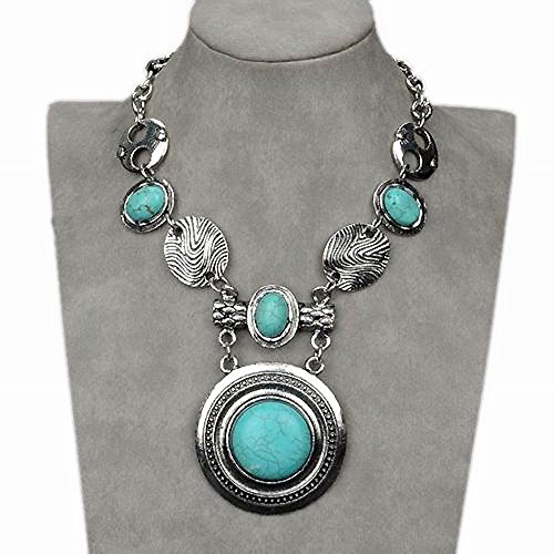 Stunning Turquoise Cameo Chain Collar Statement Bib Necklace Pendant (Necklace Cameo Clasp)