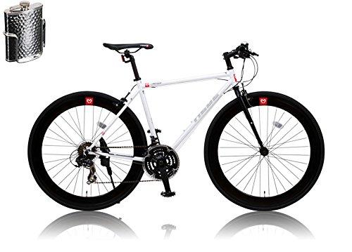 CANOVER(カノーバー)クロスバイク 700C シマノ21段変速 CAC-024 (HEBE) ステンレスボトル&ケージセット ディープリム クロモリフレーム ラピッドファイヤー フロントLEDライト付 [メーカー保証1年] B01A554AMSホワイト