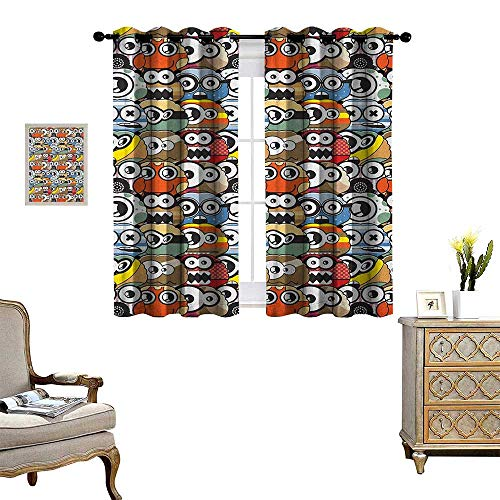Crewel Drape - Warm Family Kids Patterned Drape for Glass Door Cartoon Monsters Pattern with Comical Eyes and Mouths Humorous Festive Characters Waterproof Window Curtain W72 x L45 Multicolor