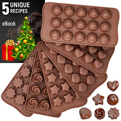 Silicone Candy Molds + 5 Recipes eBook - 6 Pack - FDA Approved Silicone Molds For Fat Bombs - Chocolate Molds
