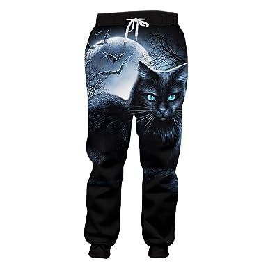 kuwojk Pantalones de chándal Estampado de Hombre Gato Pantalones ...