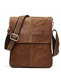 BAIGIO Leather Cross-body Satchel Messenger Bag Casual Shoulder Bag (Brown)