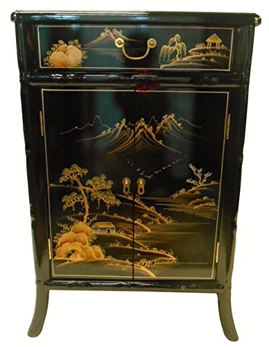 Oriental Shoe cabinet carved bamboo style (Landscape) (Cabinet Oriental Storage)