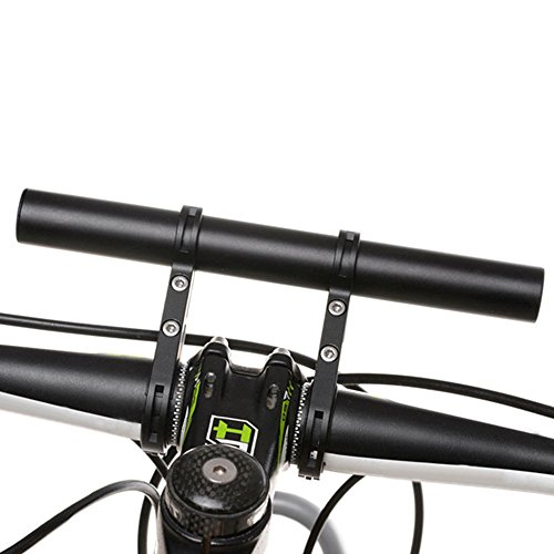 LoveStorY Bike Handlebar Extender Carbon Fiber Aluminum Alloy Double Clamps Bracket Holder Extension Flashlight Mount Space Saver for MTB Light Speedometer Bicycle Accessories