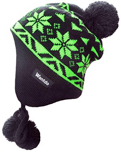 Knit Snowflake Dress (Wantdo Unisex Beanie Knit Flap Ear Hat Snowflake Patterned With Pom Pom)