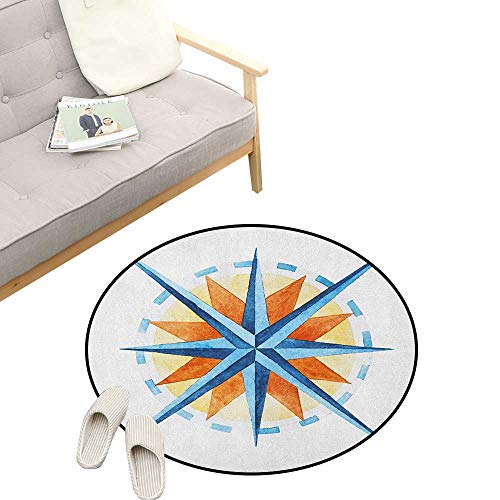 Compass Baby Room Decor Round Carpets ,Watercolor Directions North South East West Windrose Pathfinding Work of Art, Print Custom Floor mats 31