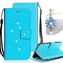 Samsung Galaxy S4 Case, Bonice Luxury Rhinestone Embossing Butterfly Pattern Premium PU Leather Flip Magnetic Snap Book Style Wallet Case [Card Slots] [Hand Strip] Multi-Function Design Cover + Diamond Dust Plug, Blue
