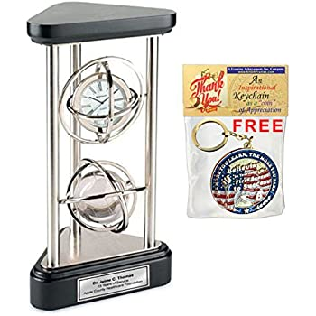 Large Gyro Spinning Desk Clock and Crystal Globe on Silver Pillars with Silver Engraving Plate. Unique Retirement Gift Employee Recognition Award Wedding Anniversary Coworker Service Present Retire