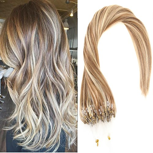 Amazon sunny blonde highlight micro ring extensions human sunny 16inch micro loop ring hair extensions human hair light brown highlight blonde micro rings beads pmusecretfo Images