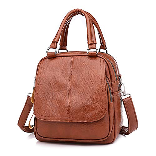 Shoulder PU Leather Backpack Purse Women Bag Brown Washed Crossbody Convertible Ladies Rucksack Artwell qwvTFS