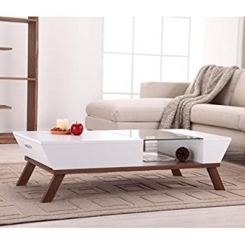 Browson Contemporary Style White Finish Glass Insert Coffee Table