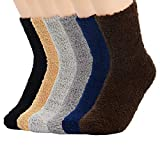 Zando Women's Fuzzy Soft Slipper Socks Home Sleeping Winter Fluffy Sock Warm Fuzzy Crew Sock Comfort Microfiber Indoor Plush Sock 6 Pairs Dark Solid One Size