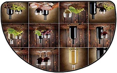 Wine Comfortable Semicircle Mat,Wine Themed Collage on Wooden Backdrop with Grapes and Meat Rustic Country Drink Decorative for Living Room,25.9
