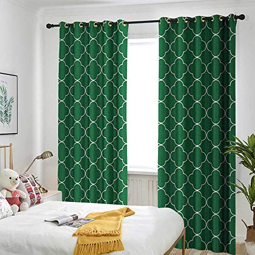 TRTK Bedroom Curtains The Shade Room darkens The bedroom's Insulated Curtain Ring Quatrefoil,Four Leaf Clover Flower on Moroccan Trellis Mosaic Pattern Traditional Digital Print -