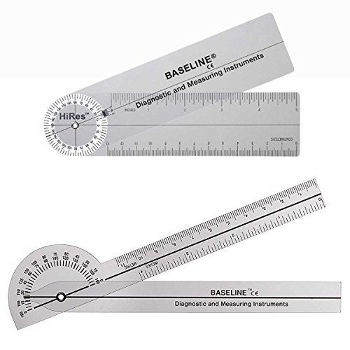 Baseline 12-1005HR-25 Plastic Goniometer Pocket Style Hires 180 Degree Head 6 Inch Arms 25-Pack by Unknown