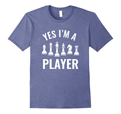 Mens Funny Chess T Shirt: Yes I'm a Player 3XL Heather Blue