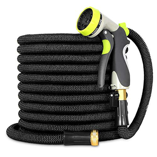 Besiter Expandable Garden Hose-New 2018 100ft {UPGRATED} Expanding Hose with 3/4 Heavy Duty Brass Connectors-Lightweight and Kink Free Flexible Water Hose with 8 Function Metal Spray Nozzle-Black
