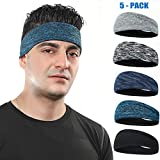 DASUTA Mens Headband 5 Pack Guys Sweatband Headbands for Sports,Running,Crossfit,Basketball Wocking Out and Performance Stretch & Moisture Wicking Men and Women Unisex