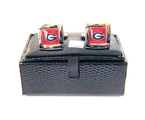 NCAA Georgia Bulldogs Square Cufflinks With Square Shape Engraved Logo Design Gift Box Set (Georgia Square Logo)