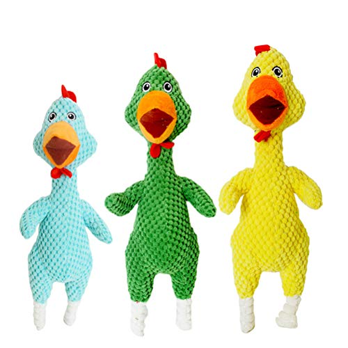 Kohair Stuffed Toy - POPETPOP Small Dog Toys Squeaky,3 Pack Dog Puppy Screaming Chicken Toy Chew Toy Safe and Non Toxic Dog Teething Toys