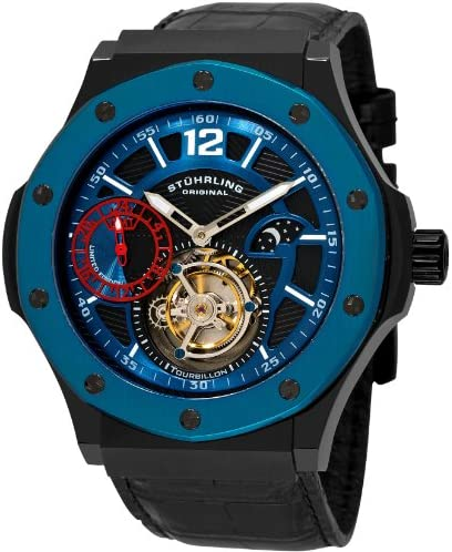 Stuhrling Original Men s 160E.335651 Apocalypse Revelation Tourbillon GMT AM PM Indicator Blue Bezel Black Crocodile Strap Watch