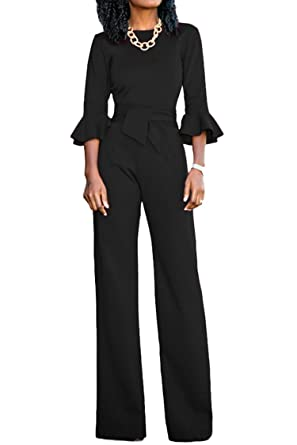cf8efdb7c4 Amazon.com  KAKALOT Women Ruffle Sleeve Jumpsuits Wide Leg Long Romper Pants  with Belt  Clothing